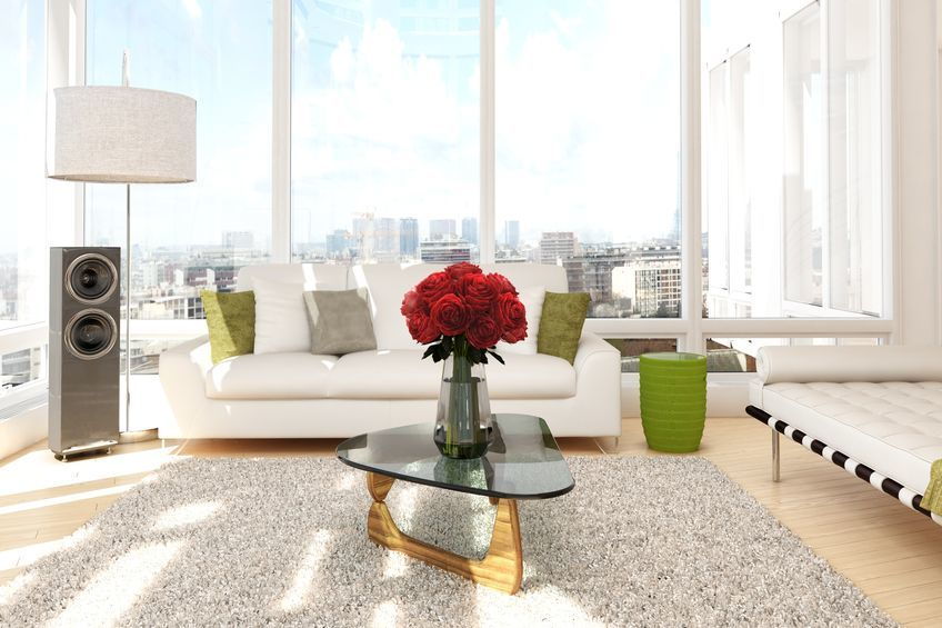20995348 - urban loft with roses and sofa with view of a city